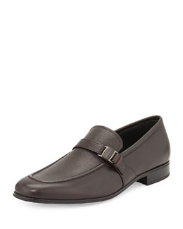 Salvatore Ferragamo Pinot Side-Buckle Vara Loafer, Brown
