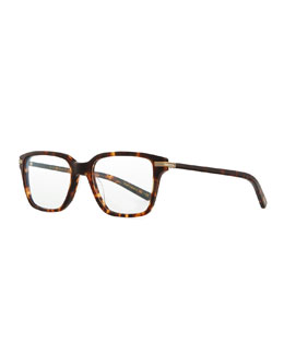Men's Stone Rectangle Fashion Glasses, Matte Sable Tortoise