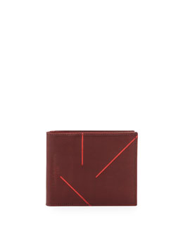 Maison Martin Margiela Leather Wallet with Metallic Lines, Wine