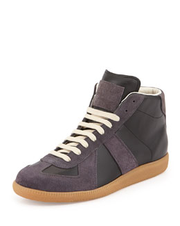Maison Martin Margiela Replica Mid-Top Leather Sneaker, Gray/Black