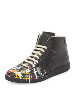Maison Martin Margiela Splatter-Detail Mid-Top Replica Sneaker, Black