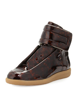 Maison Martin Margiela Future Tortoise-Patent High-Top Sneaker, Brown