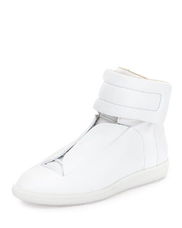 Maison Martin Margiela Future Leather High-Top Sneaker, White