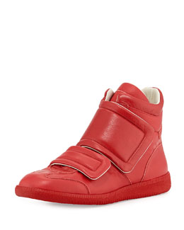 Maison Martin Margiela Clinic Two-Strap High-Top Sneaker, Red