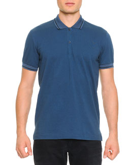 Dolce & Gabbana Tipped Polo Shirt with Logo, Blue