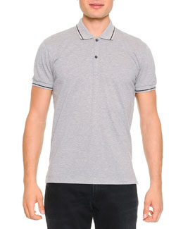 Dolce & Gabbana Tipped Polo Shirt with Logo, Gray