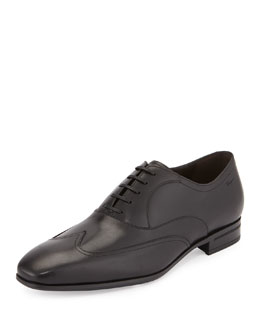 Salvatore Ferragamo Leather Lace-Front Wing-Tip, Black