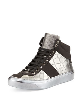 Jimmy Choo Belgravia Croc-Stamped High-Top Sneaker, Metallic