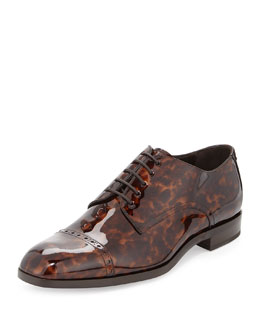 Jimmy Choo Prescott Turtle Patent Leather Lace-Up Shoe, Chocolate