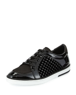 Jimmy Choo Sydney Patent Leather Low-Top Sneaker, Black
