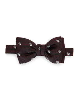 Silk Skull & Polka Dot-Print Bow Tie, Black-Red