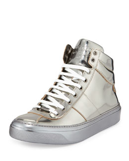 Jimmy Choo Belgravia Metallic High-Top Sneaker, Gunmetal