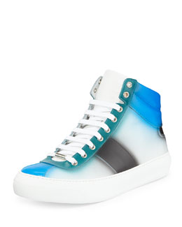 Jimmy Choo BelgraviaSpray-Paint High-Top Sneaker, Blue