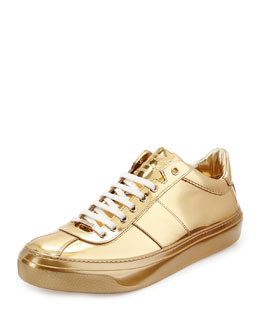 Jimmy Choo Portman Men's Mirrored Low-Top Sneaker, Gold