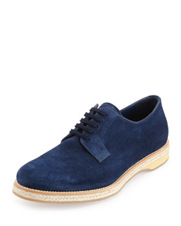 Prada Suede Lace-Up Espadrille, Navy