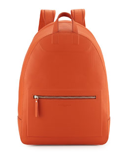 Maison Margiela Zip-Top Leather Backpack, Orange