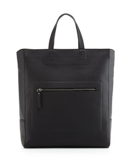Maison Margiela Leather Zip-Top Tote Bag, Black