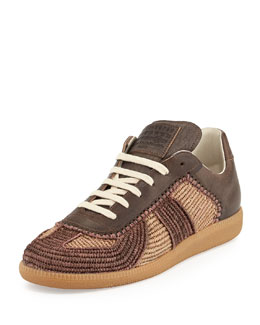 Maison Margiela Marrakech Raffia & Leather Low-Top Sneaker, Camel