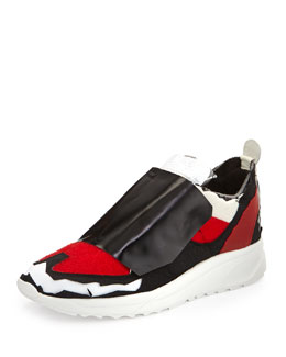 Maison Margiela Runway Deconstructed Tennis Shoe, White/Red