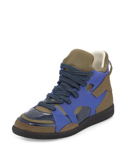Maison Margiela Neo Colorblock High-Top Sneaker, Blue/Black