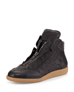 Maison Margiela New Future Cutout Detail High-Top Sneaker, Nero