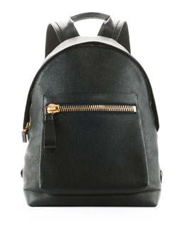 TOM FORD Zip-Pocket Pebbled Backpack, Black