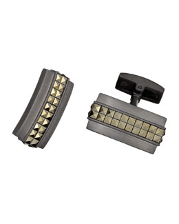 Gunmetal Studded Rectangle Cuff Links