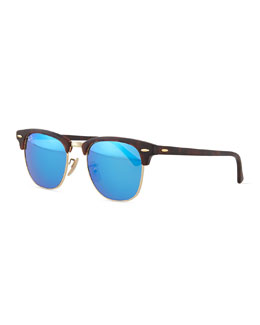 Ray-Ban Clubmaster Half-Rimmed Sunglasses, Tortoise/Blue