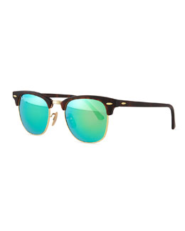Ray-Ban Clubmaster Half-Rimmed Sunglasses, Tortoise/Green