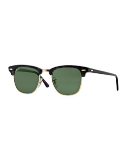 Ray-Ban Classic Clubmaster Sunglasses, Black/Green