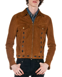 Saint Laurent Diamond-Cutout Suede Jacket, Brown