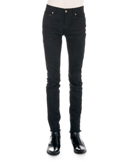 Saint Laurent Frayed Hem Skinny Jeans, Black