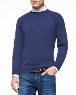 Felpa Cashmere Long-Sleeve Sweater, Royal Blue