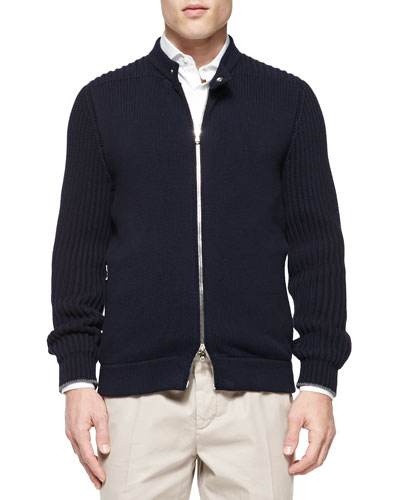 Chunky-Knit Full-Zip Sweater, Navy