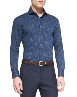 Denim Polka-Dot Long-Sleeve Sport Shirt, Indigo