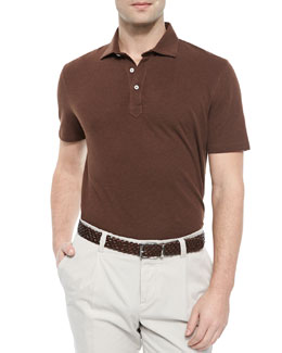 Brunello Cucinelli Fine Pique Polo Shirt, Tan
