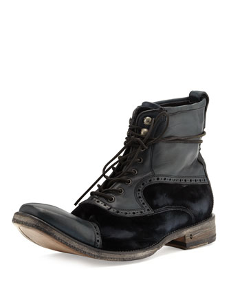 John Varvatos Fleetwood Leather & Velvet Boot