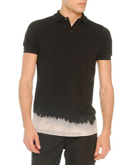 Tomas Maier Bleached-Bottom Polo, Black
