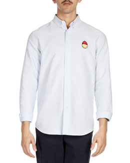 Smiley-Face-Patch Sport Shirt, Light Blue
