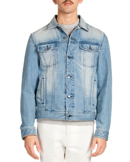 Ami Washed Denim Jacket, Blue