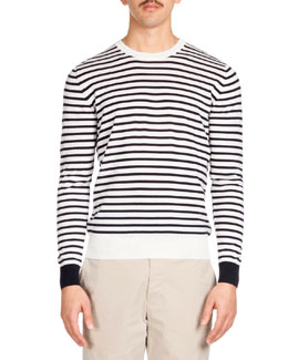 Striped Crewneck Sweater, Navy/White