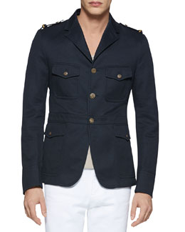 Gucci Washed Cotton Jacket, Navy