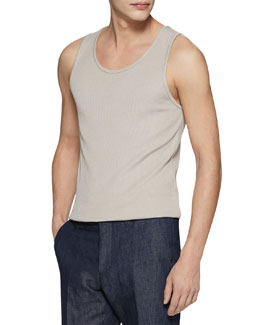 Gucci Rib Silk-Knitted Tank Top, Oatmeal