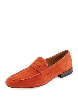 Salvatore Ferragamo Naples Suede Penny Loafer, Orange