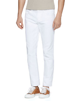 Gucci Resinated Cotton Skinny Jean, White