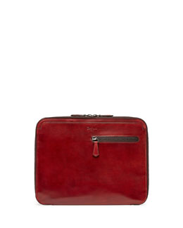 Leather Zip Portfolio, Red
