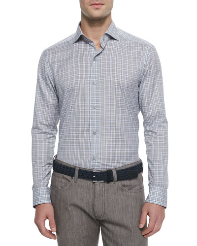 Plaid Woven Sport Shirt, Green