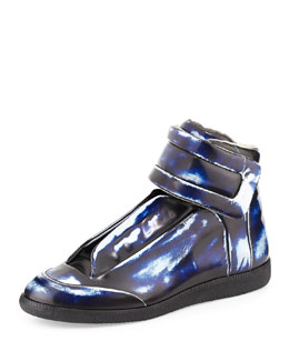 Maison Margiela Brushed-Effect High-Top Sneaker, Blue