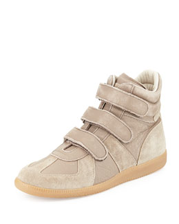 Maison Margiela Leather Grip-Strap High-Top Sneaker, Light Brown