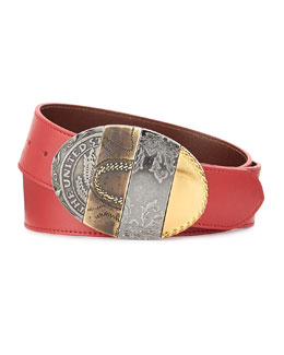 Maison Margiela Oval Mixed-Pattern Leather Belt, Red